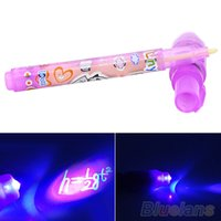 Wholesale Magic Purple In UV Black Light Combo Creative Stationery Invisible Ink Pen Q42 P4P