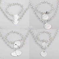 Wholesale Fashion Jewelry Sets Women s Bracelet and Necklace Jewelry Silver Charms Pendants Links Chain Mix Styles Orders