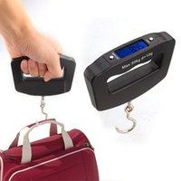 Negro LED Digital 50Kg / 10g pescado que cuelga la balanzas electrónicas para medir peso para el equipaje