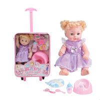 baby doll potty - Blonde Curls Baby Girl Drink Pee Vinyl Doll Set Travel with Plastic Stroller Learning Feeding and Potty Toys