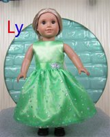 Wholesale New Fashion Party Gifts For Children Girls Dolls Green Clothes Accessories Dress For American Girl Dolls Dress DD027