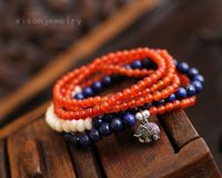 Wholesale New design Multi element All match bracelet Brazil lapis lazuli natural red agate beaded bracelet