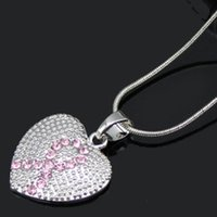 Wholesale NEW STYLE Breast Cancer Awareness Pink Ribbon Jewelry Necklace Pink Ribbon Heart Pendant Necklace