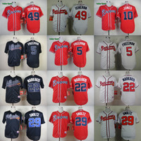Wholesale 2016 Mens Atlanta Braves Freddie Freeman Nick Markakis Julio Teheran Chipper Jones Baseball Jerseys Cream