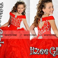 Wholesale 2015 Ritzee Girl Glitz Ball Gown kids Girls Pageant Dresses Beads Crystal Floor length Backles Piping Toddler Girl Cupcake Pageant Dresses