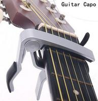achat en gros de changement rapide capo-Haute Qualité Nouvelle Aluminium Alliage Argent Quick Change Clamp Clé Acoustique Classic Guitar Capo Pour Tone Réglage Chaud