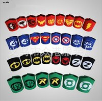 Wholesale 18 designs Kids Wrist Support Captain America Wristbands Children Superhero Superman Batman Spiderman avengers cosplay armguard Wrist strap
