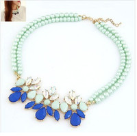 Cheap Factory wholesale A542 new small fresh candy blue mint green flower gem diamond diamond short paragraph Valentine's day gifts