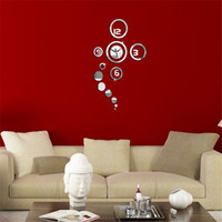 Wholesale Hot Sale DIY D Home Modern Decoration Acrylic Mirror Wall Clock Silver Living Room Kitchen Bedroom Wall sticker