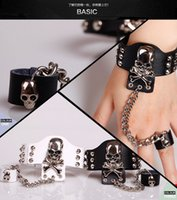 Wholesale Hot New Arrivel Men Women Cool Punk Leather Cowhide Bracelet With Annulus Bangles Couple Fashion Skeleton Inlay Rock Wrist Chain