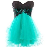Wholesale Custom Made Short Black Turquoise Homecoming Dress Strapless Sweetheart Lace Up Back Appliqued Mini Prom Party Dresses Classic Gown