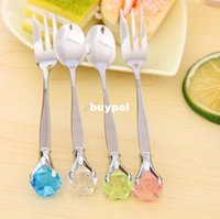 stainless steel spoon - sale sets diamond stainless steel spoon fork cutlery coffee spoon of iron Crystal stones couples scoop
