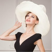 church hats fashion - Women Organza Hat Fashion Hat White Wedding Hat Flower Wide Brim Floppy Ruffle Wave Brim Floppy Ruffle Organza Church Sinamay Wide Brim Hat