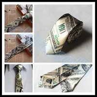 Wholesale fashion novel man dollar coin print tie woman neck tie party skinny tie