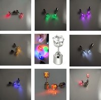 Cross blink movie - Light Up LED Bling Earrings Hot Fashion Ear Studs Dance Party Accessories Blinking Women Men Zircon Earrings Gifts