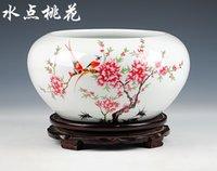 aquarium bowl - 2016 Hot sale Jingdezhen Ceramic fish bowl porcelian tank aquarium goldfish bowl turtle tank lotus flower bowl