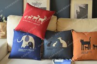 beautiful illustration - Sell Animals Family Illustrations Sofa Cushion Cover Color Elegant And Beautiful Pillow Cover Warm Harmonious Vintage Cushion
