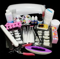 TF0077 MIX PACKAGE No New Pro Nail Art UV Gel Nail Set Kits Tool With UV 9W lamp Brush Remover nail tips glue acrylic #12set Drop shipping