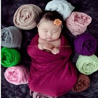 Wholesale baby DIY photo receving blankets newborn photography props costume wraps body rayon cloth photography props wraps with flower