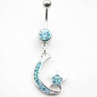 aqua diamonds shipping - 0133 Nice STAR MOON style Navel belly ring AQUA color stone drop shipping piericing body jewelry