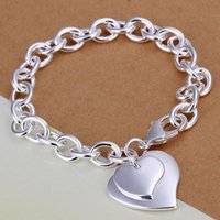 Precio de Broches para los encantos-Pulsera del encanto de la cadena de la plata esterlina 925 pulseras del corchete de la langosta Cadena pulsera del encanto con el corazón 8 pulgadas 10pcs