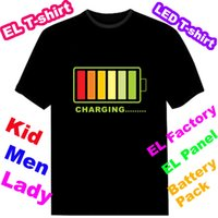 t-shirt wholesale - Luminous EL T shirt Sound Activated Flashing T shirt led t shirt Equaliser T shirt EF241 Over logos by DHL pieces