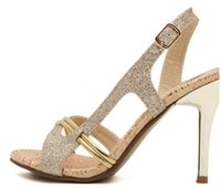 Cheap 2015 New fashion high heels sandals gold shoes dress shoes sexy wedding shoes cheap glitter shoes