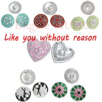 Wholesale 20mm Enamel Carved Metal Buttons Rhinestone Snap Button Charms For Snap Button Jewellery necklace And Snap Bracelets M03