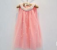 Summer beach clothings - New hot Korean girl dress children fairy chiffon clothings high quality kids clothes yrs baby girl pearls collar dresses