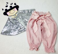 Cheap Fashion new DOLLY style sequins shawl 2016 children silver sequins poncho kids pink bows puff half pants INS children clothing A7758