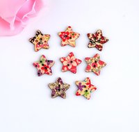 Cheap Free shipping -2015 Random 100pcs Mixed 2 Holes Colorful Stars Shape Flower Wood Sewing Buttons Scrapbooking 25x25mm D2805