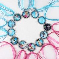 Wholesale Mixed Bottle Cap Necklace Charm Ribbon Necklaces Elsa Anna Olaf Hans Deer Necklace Dress Accessories