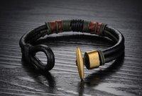 Wholesale Square Charm Braid Italian Folli Follie Leather Men Bracelet