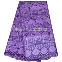 african clothing - High quality African Fabric Yards Cotton Big African Swiss Voile Lace Fabric For Clothes Materials Purple color african lace