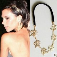 antique british - British girl Tide brand original single gold metal leaf olive branch shape headbands wedding hair jewelry accessories