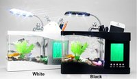 Wholesale Father s day Gift USB Desktop Fish Tank Aquarium with LED Light Fish Tank Aquarium water pump for Home Decoration Black White