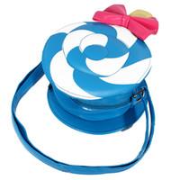 Wholesale New Candy Shape Cute Girls School Bags Lovely Lollipop Bow Shoulder Style Kindergarten PU Leather Color Children Crossbody Bag