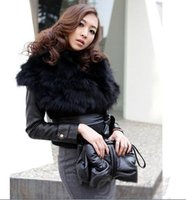 Wholesale 100 Fur faux fur leather vest winter jacket women black winter vest coat Bust cm inch pc15
