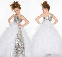 Cheap BM 2015 Cute Lovely Girl Sequins Crystal Ruffles A Line Tulle Long Girl's Pageant Flower Girl Dresses With One Shoulder Made In China