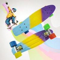 Wholesale Pastel Fade SkateBoard Style board Complete Mini Longboard Retro Cruiser Skate Board quot Three Color Bearing ABEC