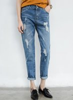 high waist jeans plus size - 2015 High Waist plus Size Jeans Women Skinny Pencil Pants Denim Ripped Boyfriend Jeans With Holes For Woman