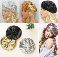 Wholesale 2016 Trendy Sequin Women Hats Girls Berets Twinkle Fashion Party Cap Festival Stage Show Hat Europe Pop Elements Sequins Bling Hat colors