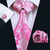 Precio de Lazo formal de color rosa-Lazo floral rosado de la boda Las mancuernas del Hankerchief fijaron el sistema de lazo de los hombres tejidos del telar jacquar El trabajo formal del negocio Reunión N-0767