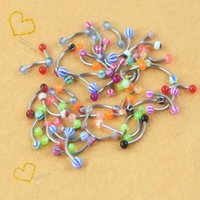 Wholesale 10pcs MultiColor mix UV Ball Barbell Eyebrow Rings Studs Stainless Steel