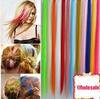 Wholesale Hot Sale Colorful Popular Colored Clip On In Hair Extensions Straight hair and hair color wig Hot Fashion Women candy