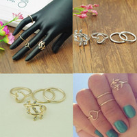 Wholesale 2016 Promotion Casamento set Women Gold Silver Cute Urban Crystal Plain Above Knuckle Ring Band Midi Leaf Heart Rings