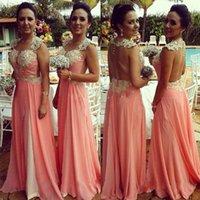 Cheap Custom Arabic Coral Bridesmaid Dresses Capped Sleeve Sweetheart Pearls Chiffon Sheer Back A Line Bridal Party Gowms Maids Brides Dresses LA