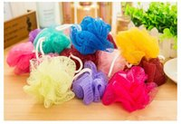 bathroom scrubber - 50pcs Bathe Bath Brushes Sponges Scrubbers Colorful Soft and Comfortable Bathroom Ball Body Wash FREE DHL