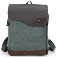leather canvas laptop bag - Unisex Inch Canvas Leather Laptop Computer Backpacks Shoulder Bags for outdoor travel student bag