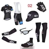 Wholesale 2014 Sky Cycling Jersey Set Short Sleeve Bib None Bib Black Set Bike Wear With Arms Gloves Legs Caps Shoes covers Cycling Glasses
